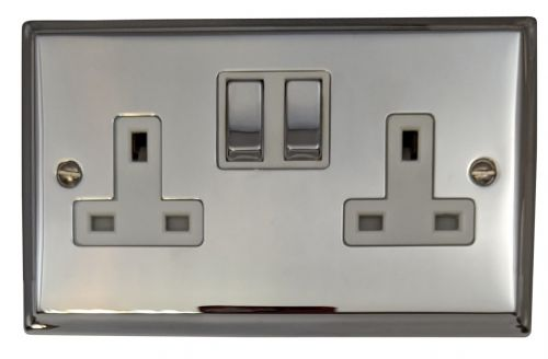 G&H DC210 Deco Plate Polished Chrome 2 Gang Double 13A Switched Plug Socket